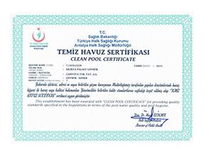Sağlık Bakanlığı Temiz Havuz Sertifika